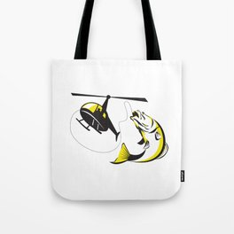 Barramundi Heli Fishing Retro Tote Bag