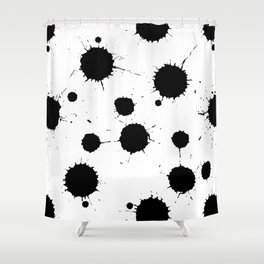 Black and White Ink Blotches Pattern Shower Curtain