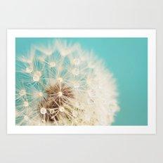 dandelion with waterdrops Art Print