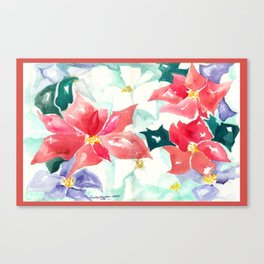 Poinsettia Cheer Canvas Print