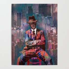 New York Man Seated City Background 2 Poster
