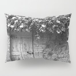 Old Italian wall overgrown with roses Pillow Sham
