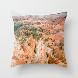 Bryce Canyon | Nature Landscape Photography of Rocky Orange Hoodoo Formations in Utah Desert Throw Pillow