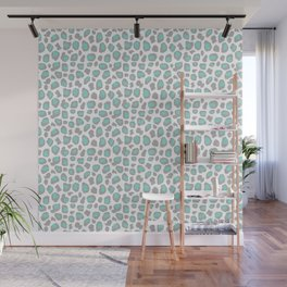 Leopard Animal Print Aqua Blue Gray Grey Spots Wall Mural