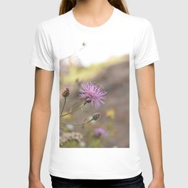 Purple Flowers Vintage on the Beach T-shirt