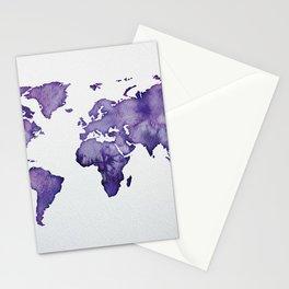 Purple World Map 01 Stationery Cards