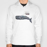 moby dick Hoodies featuring Moby Dick by Janie Stapleton