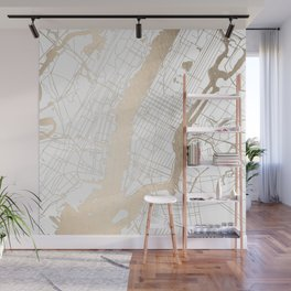 New York City White on Gold Wall Mural