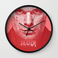 dexter Wall Clocks featuring DEXTER by Hands in the Sky