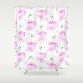 Hand painted pink lavender green watercolor floral Shower Curtain