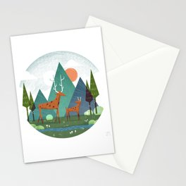 Deer and son Stationery Cards