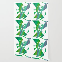 geometrical abstract shapes of green and blue Wallpaper