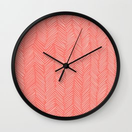 Living Coral Herringbone Happiness Wall Clock