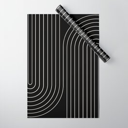 Minimal Line Curvature - Black and White II Wrapping Paper