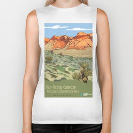 Vintage Poster - Red Rock Canyon National Conservation Area, Nevada (2015) Biker Tank