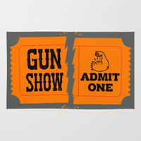 anchorman Area & Throw Rugs featuring Ticket to the Gun Show by Morkki