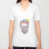 beard V-neck T-shirts featuring BEARD by Nazario Graziano