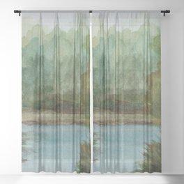 Blue Lake Channel  WC151209q-09 Sheer Curtain