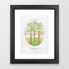 Haruki Murakami's Norwegian Wood // Illustration of a Forest and Mountains in Pencil Framed Art Print