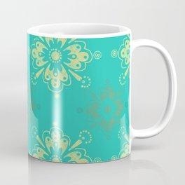 Ornamental Geometric in Turquoise and Gold Metallic Look Coffee Mug