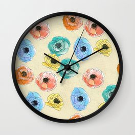 Hand painted coloful flowers Wall Clock