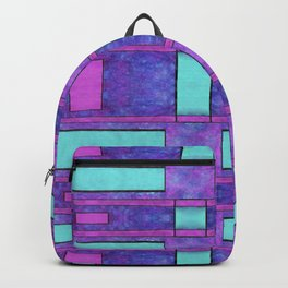 Painted cyan and magenta parallel bars Backpack