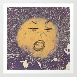 yellow ball with a face Art Print