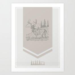 Lodge series - Deer (cream) Art Print