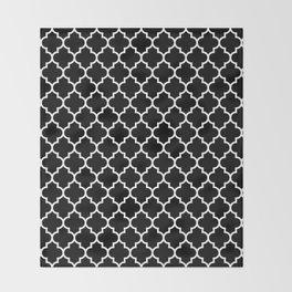 White Moroccan Quatrefoil On Darkest Black Throw Blanket