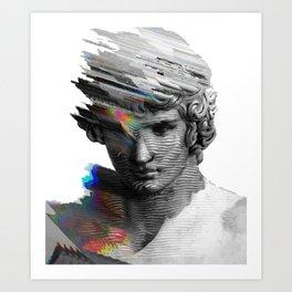 glitched roman statue Art Print