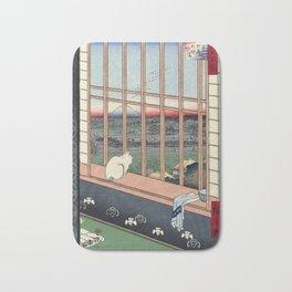 Utagawa Hiroshige Japanese Woodblock Cat Print Bath Mat
