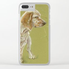 The First Spring Butterfly English Setter Puppy Pastel Drawing on green background Clear iPhone Case