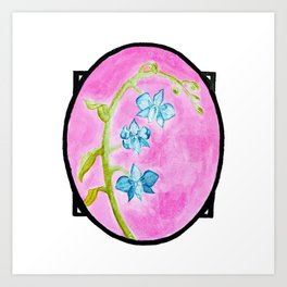 Blue Orchids Watercolor Painting — Blue Orchid Bouquet Painting Art Print