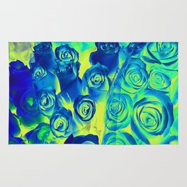 bouquet of roses texture pattern abstract in blue and green Rug