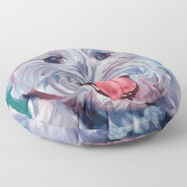 The Westie Kirby Dog Portrait Floor Pillow