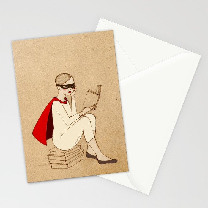 Superhero reader Stationery Cards