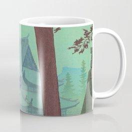 Asano Takeji Japanese Woodblock Print Vintage Mid Century Art Teal Turquoise Sunrise Shrine Coffee Mug