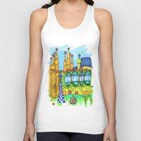 barcelona Tank Tops featuring Barcelona by Aleksandra Jevtovic