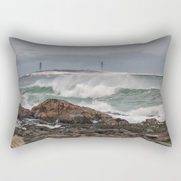 Green waves with twin lights Rectangular Pillow