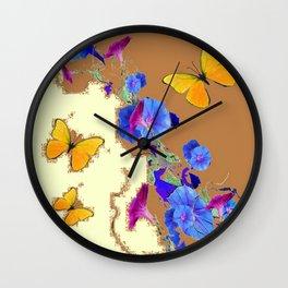 Coffee & Cream Blue Flowers butterfly Art Wall Clock
