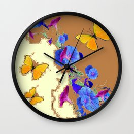 Coffee & Cream Blue Flowers butterfly Art Wall Clock