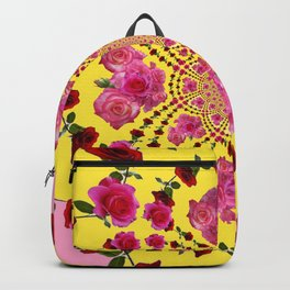 PINK-RED ROSES ON YELLOW-PINK ART Backpack