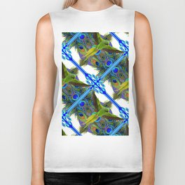 ART NOUVEAU FLYING GREEN PARROT  PEACOCK FEATHER WHITE ART Biker Tank