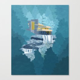 Falling water house Canvas Print
