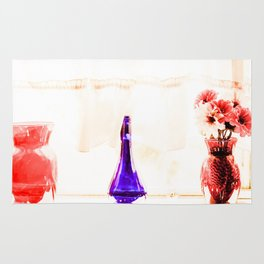 silk flowers in the red vase in kitchen Rug