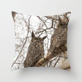 Great Horned Owl Pair Throw Pillow