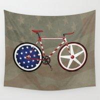 america Wall Tapestries featuring Bike America by Wyatt Design