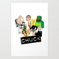 chuck Art Prints featuring CHUCK by Seedoiben
