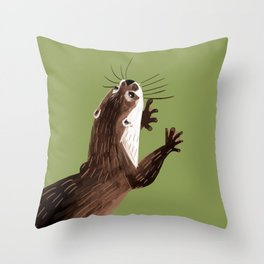 Asian small-clawed otter Green Throw Pillow