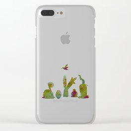 Cacti and ferret art Clear iPhone Case